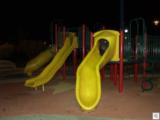 All playground equipment is plastic, and checked routinely for  saftey