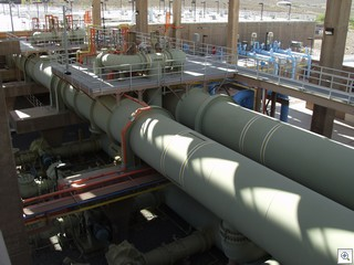 River Mountain Pipes Move Water From The Ozonization Tanks To The Carbon Filter Tanks