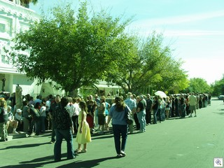 The line didn't shrink till almost 4pm. They just kept coming.