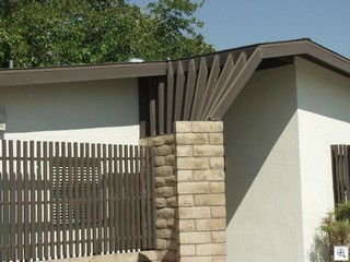 2x4's in a fan pattern create shade and architectural interest