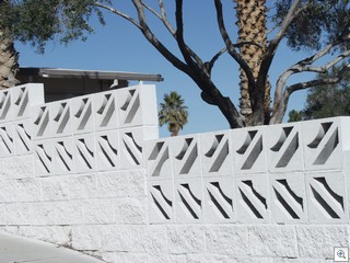 Jack LeVine has found about 50 different patterns of decorative concrete block. This one is one of the few that  he hasn't seen duplicated on multiple properties