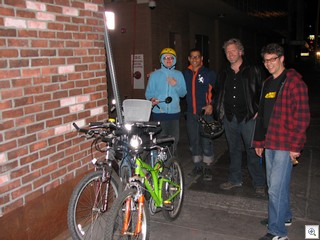 Francine Gordon, Ernie Hemmings, Steve Spann and Wes Isbut on their bicycle tour of the Fremont East Entertainment District