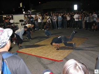 Breakdancers draw huge crowds for their perfomances.