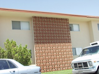 Decorative Concrete Block on the mid century modern apartment building in the Beverly Green Historic Neighborhood Of Las Vegas