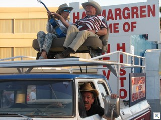 Jack LeVine, the author of VeryVintageVegas drove the truck for Dr. Lonnie Hammargren who was seated on top with Mary Joy Alderman