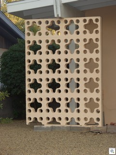 Retro Design patterns on mid century modern homes in Las Vegas provide light and privacy