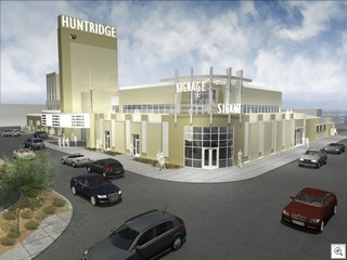 Daytime Rendering Of the adaptive re-use plan for the Huntridge Theatre In Down Town Las Vegas