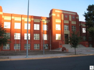 Las Vegas High School repainted with the original rust color from when it was built in 1929
