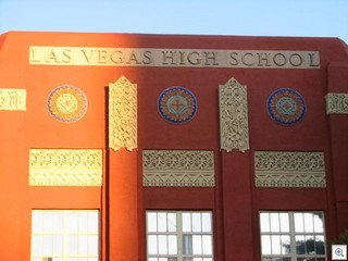 The Art Deco Las Vegas High School is now called the Las Vegas Academy