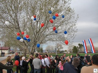 The Leavitt Family released the baloons to mark the opening of the park