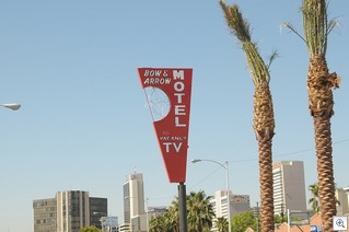 Bow and Arrow Motel - Vintage neon sign in the downtown Las Vegas cultural corridor