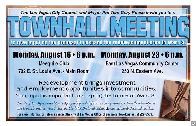 Ward 3 Town Hall Meetings about Redevelopment Districts in the City Of Las Vegas